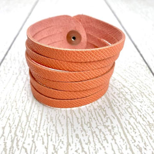 Sliced Leather Cuff - Textured Peach