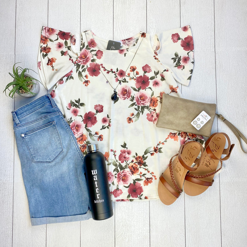 Floral Cold Shoulder Top - Ivory- FINAL SALE