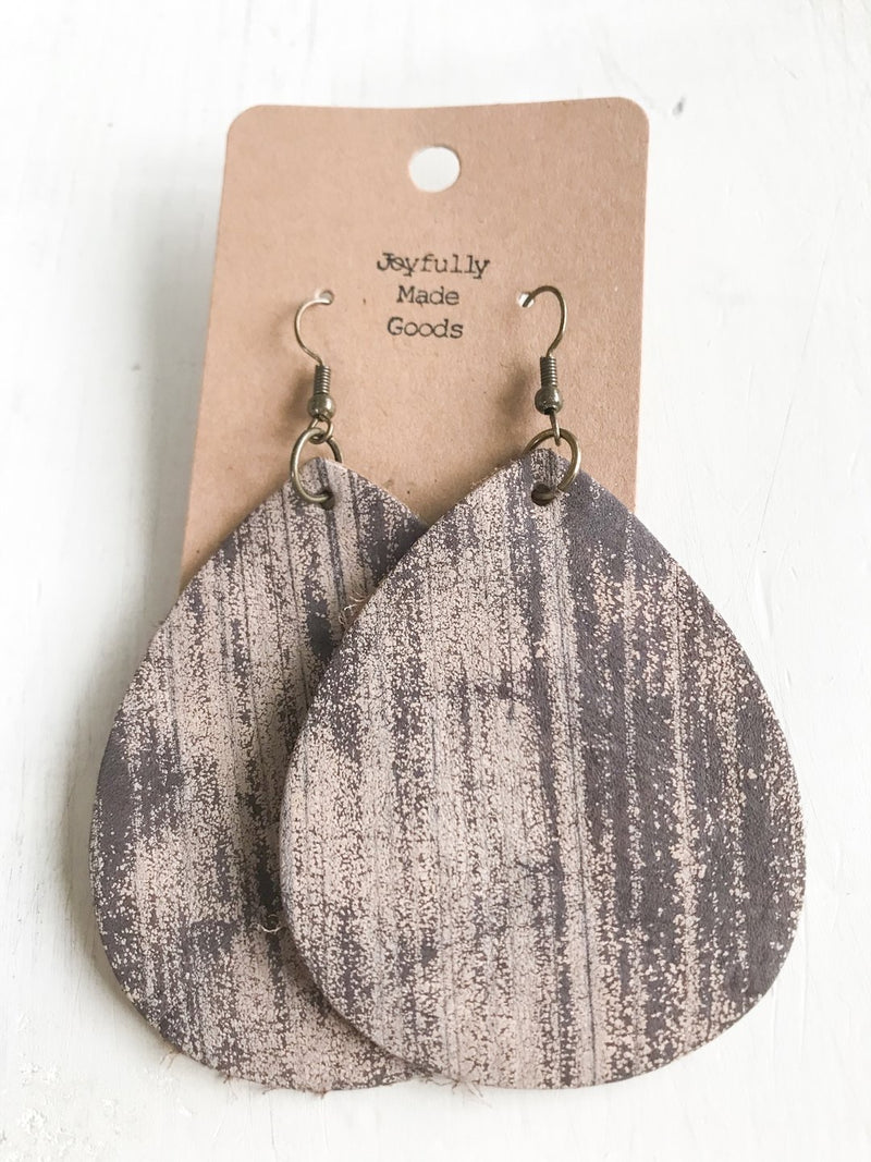 JMG - Brushed Brown Teardrop Earrings