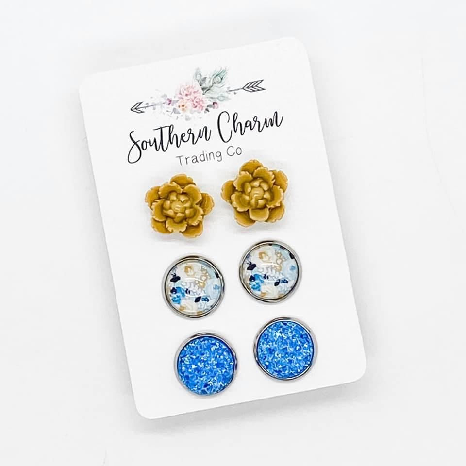 Yellow and Blue Stud Earring Trio