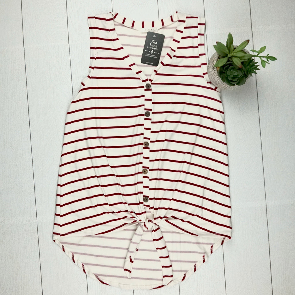 Button Tie Striped Tank - Wine