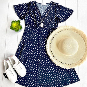 Navy Polka Dot Flutter Sleeve Dress