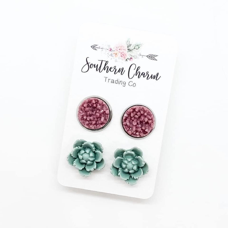 Orchid Shimmer & Sage Flower Stud Earring Duo