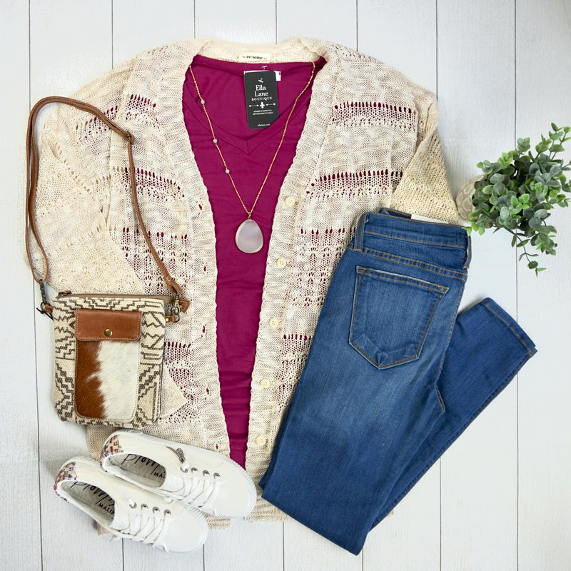 Open Knit Button Cardigan - Oatmeal
