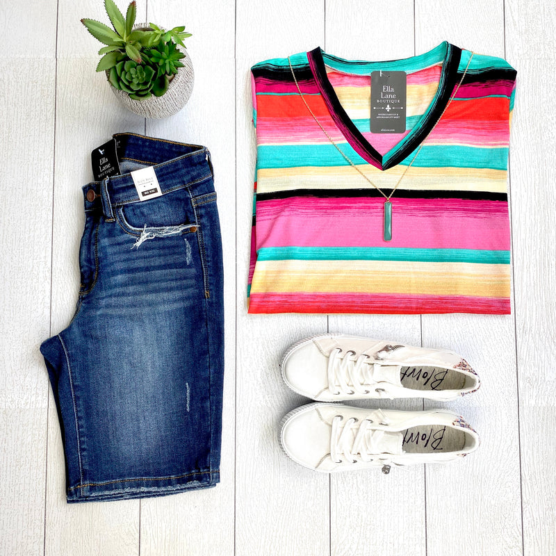 Serape Stripe V Neck Top