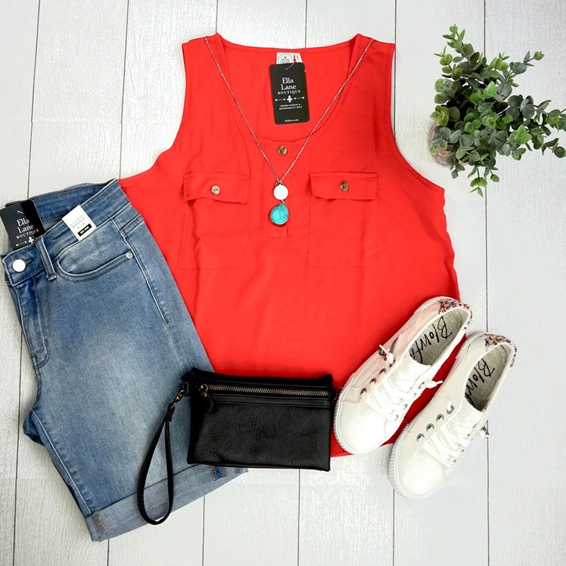 Double Pocket Tank - Orange FINAL SALE
