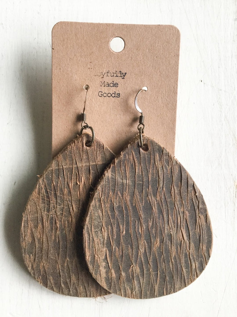 JMG - Carved Brown Teardrop Earrings