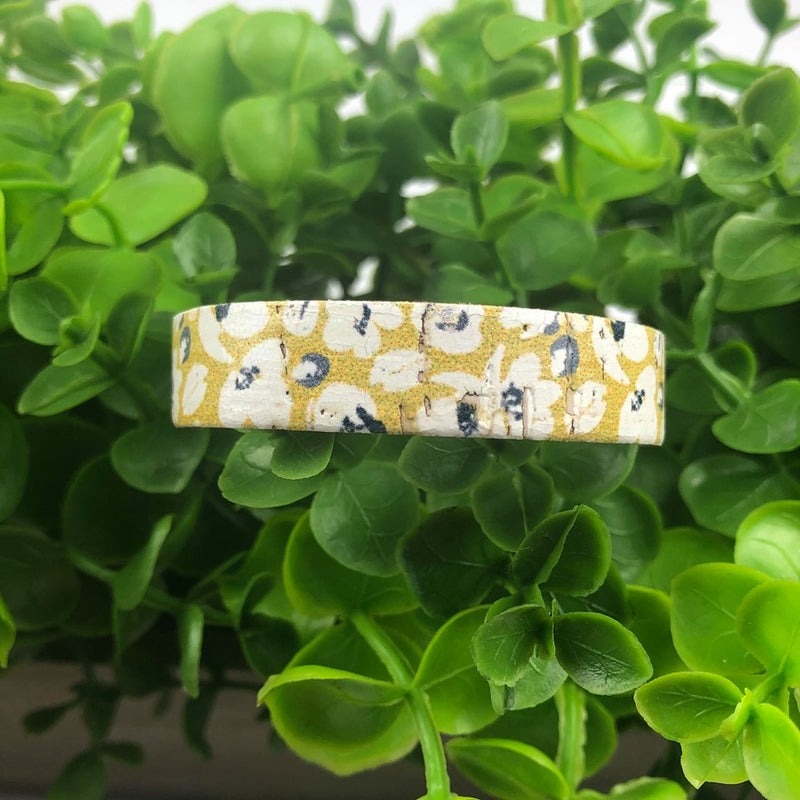 Skinny Slim Leather Cuff - Mustard Poppies