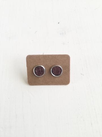 JMG 8mm Stud Earrings - Patterned Maroon
