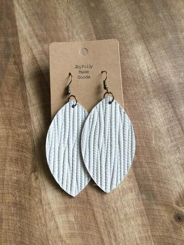 JMG Bright White Leaf Earrings