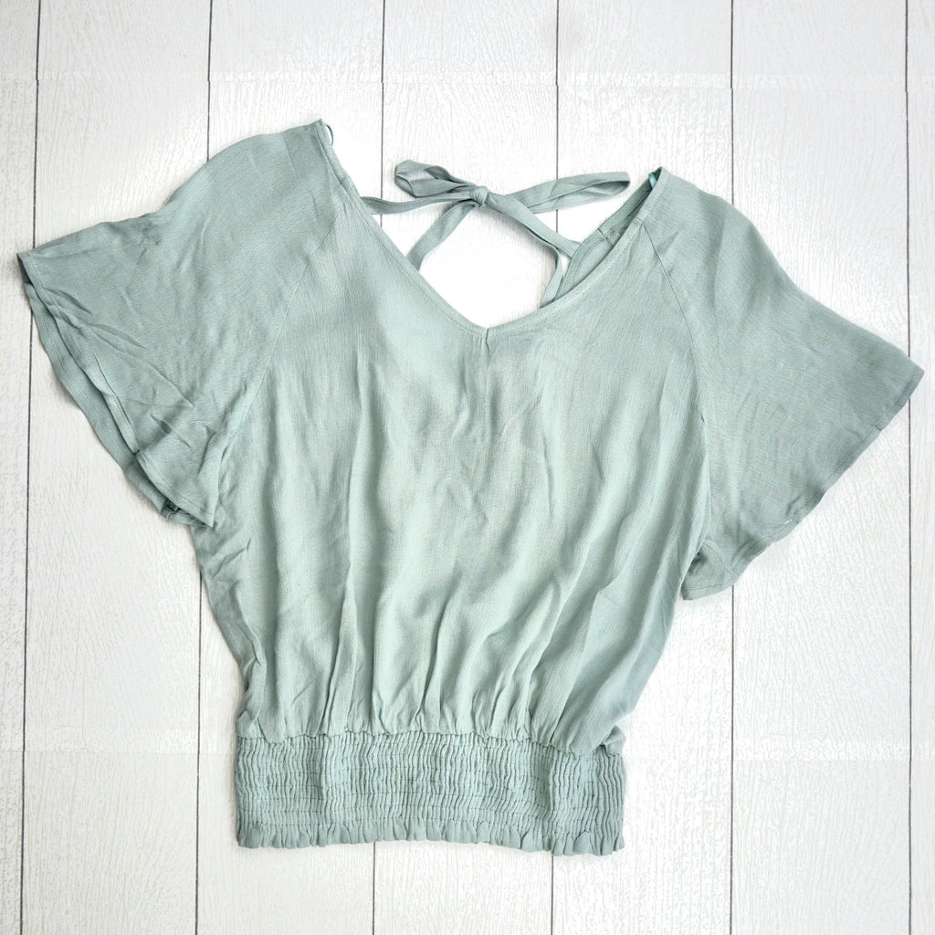 Smocked Hem Back Tie - Sage-FINAL SALE