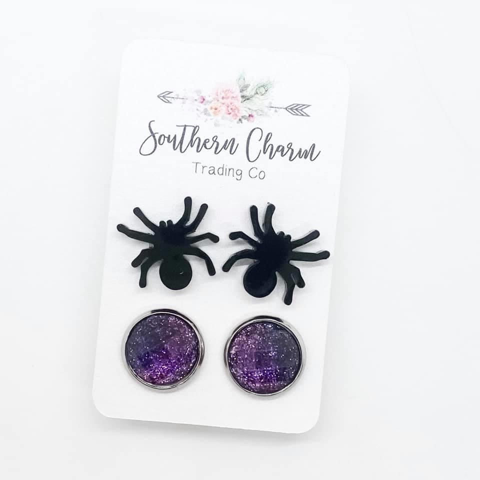 Spiders and Purple Glitter Iridescent Stud Earring Duo