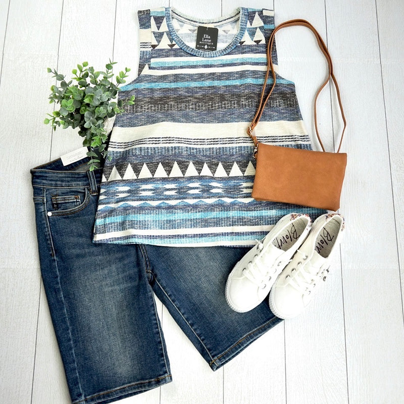 Blue Aztec Tank-FINAL SALE
