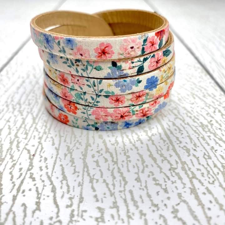 Sliced Leather Cuff - Blossom Cork