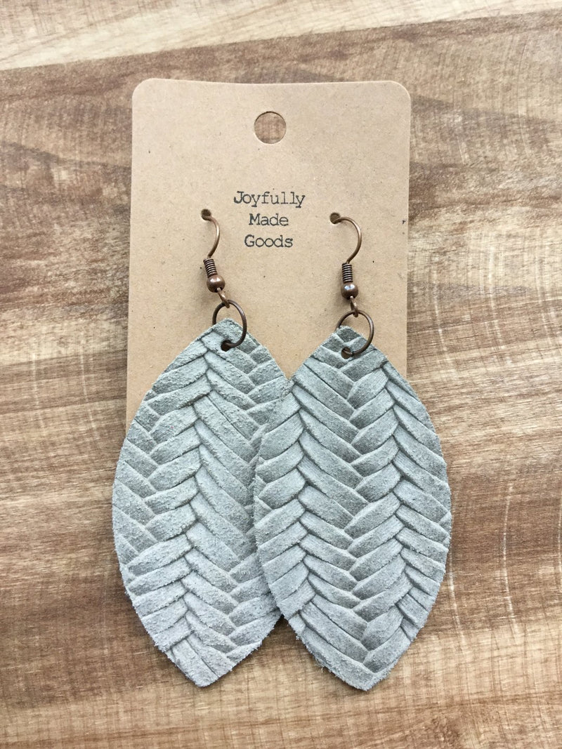JMG Taupe Leaf Earrings