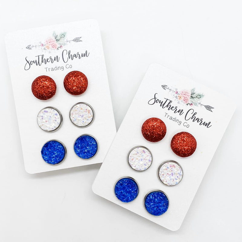 Red, White, and Blue Earring Stud Trio- FINAL SALE