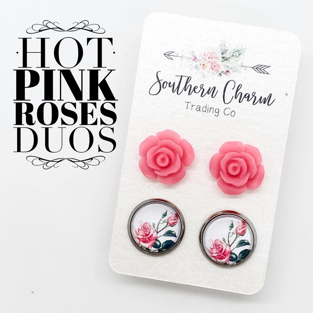 Hot Pink Roses & Roses Stud Earring Duo