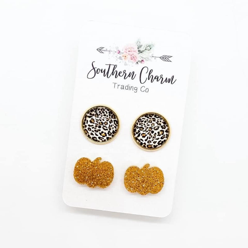 Tan Leopard & Glitter Pumpkin Stud Earring Duo FINAL SALE