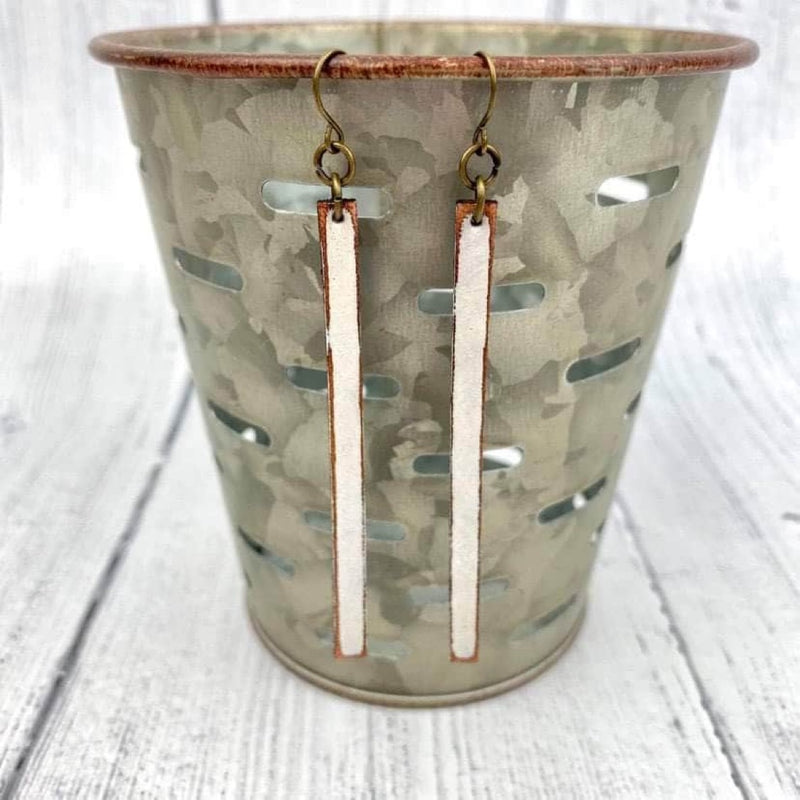 SCL Dainty Bar Leather Earrings - White Linen