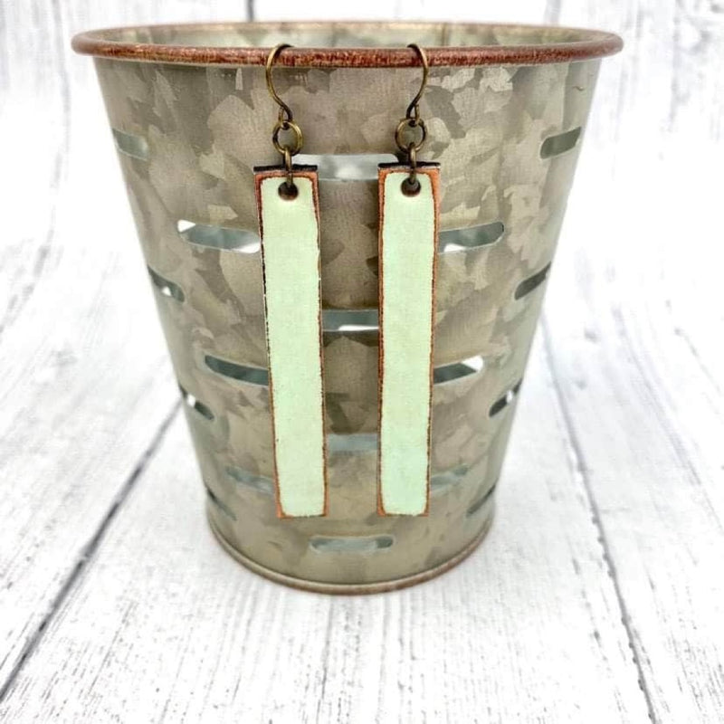 SCL Bar Leather Earrings - Sea Glass FINAL SALE