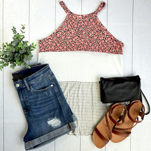 Leopard High Neck Tank - Blush