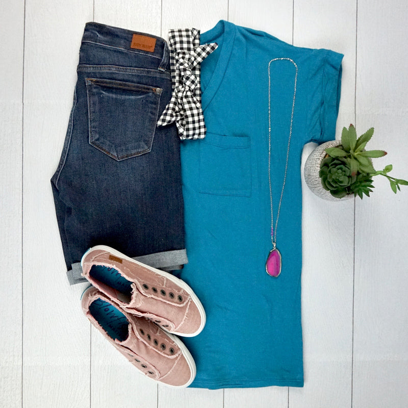 V-Neck Pocket Tee - Teal