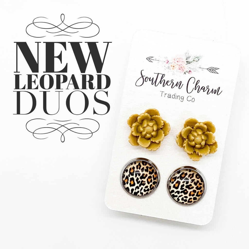 Yellow Flowers & Leopard Stud Earring Duo