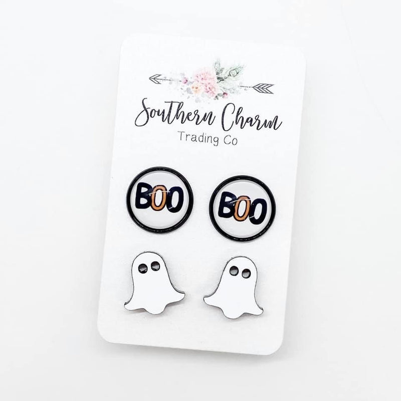 Boo & Ghost Stud Earring Duo FINAL SALE