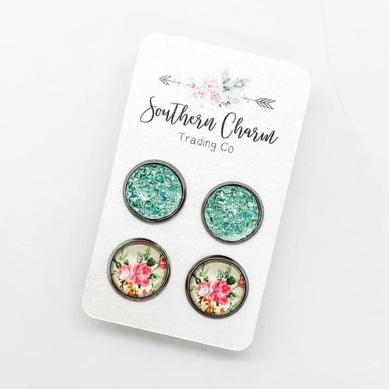 Mint Sparkles & Floral Stud Earring Duo