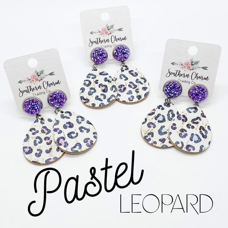 Pastel Leopard Dangle Earrings