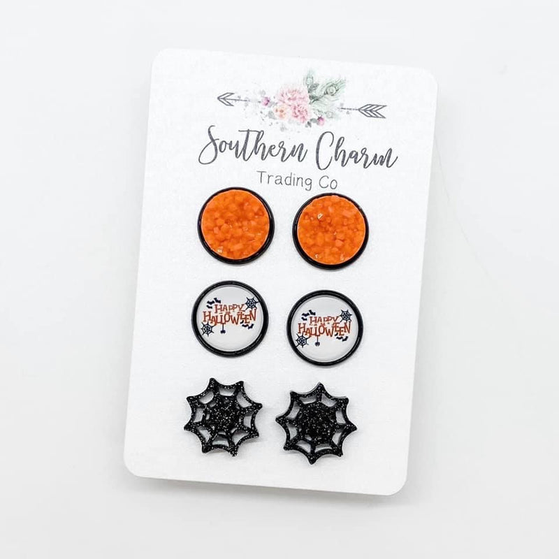 Happy Halloween Trio Stud Earrings Set FINAL SALE