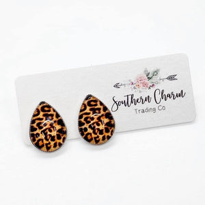 Teardrop Studs - Cheetah- FINAL SALE