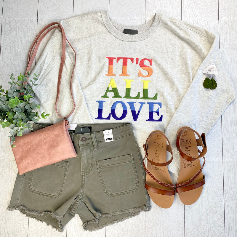 Cropped Rainbow Embroidered Sweater