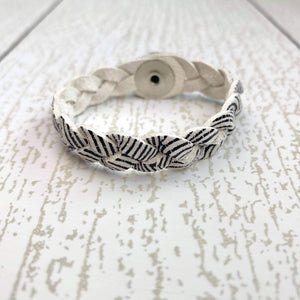 KIDS Braided Leather Cuff - Zebra