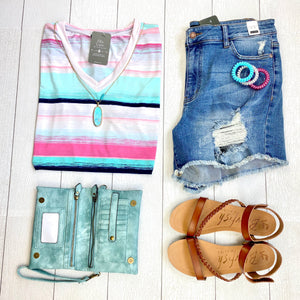 Mint and Pink Striped V-Neck Top