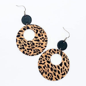 Natural Leopard Double O Piggyback Earrings