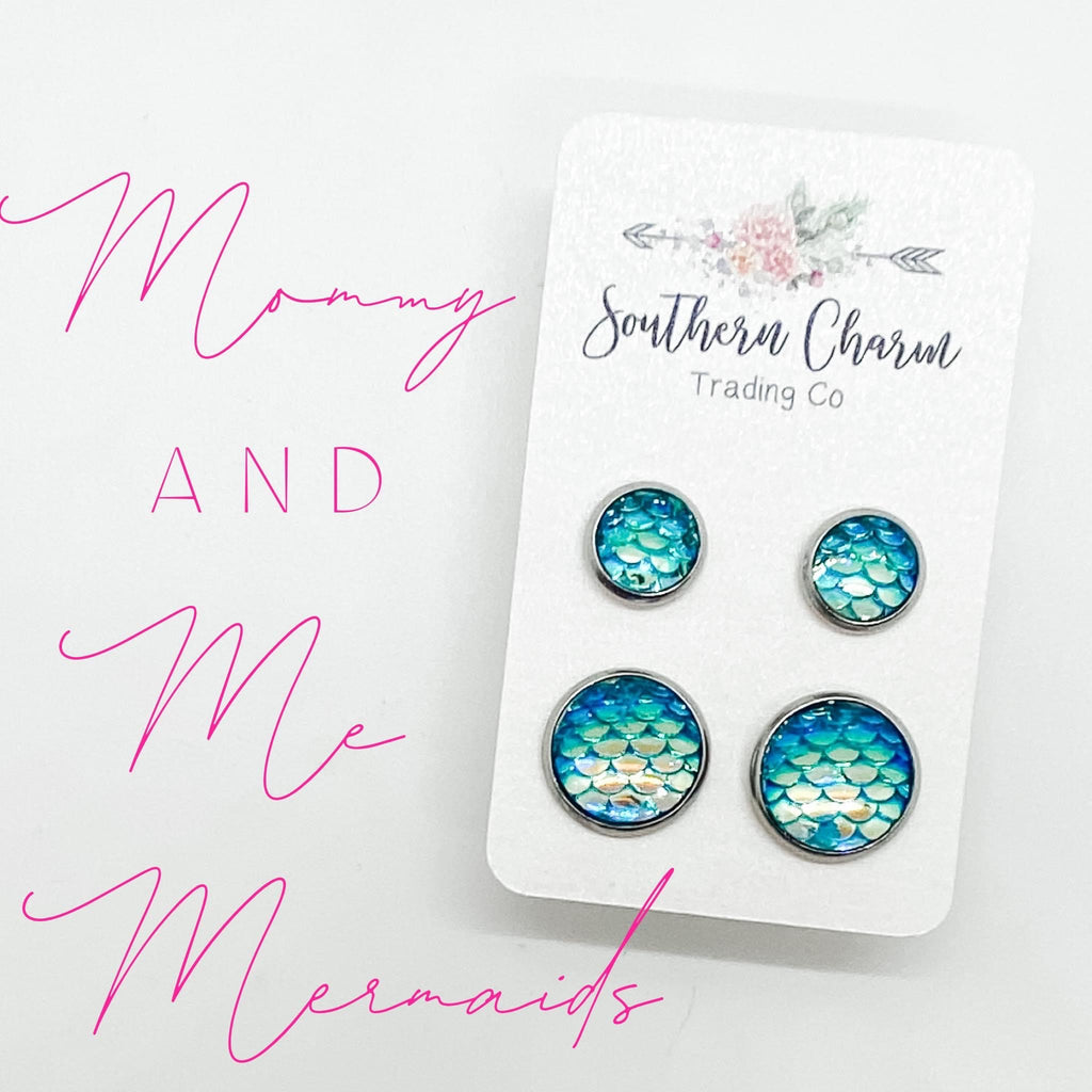 Aqua Mermaid Mommy & Me Stud Earring Duo