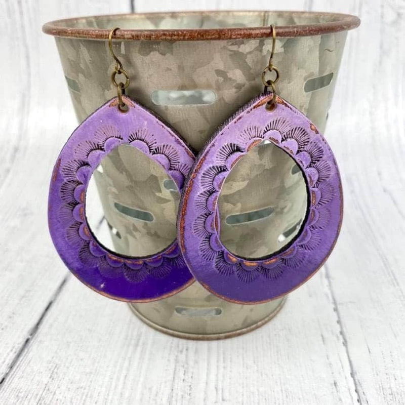 SCL Bohemian Cutout Leather Earrings - Purple Ombre