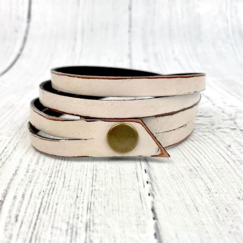 SCL Twisted Triple Wrap Leather Bracelet - White Linen