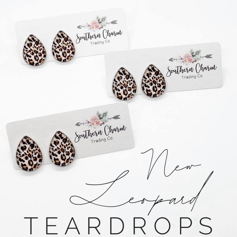 Teardrop Studs - New Leopard