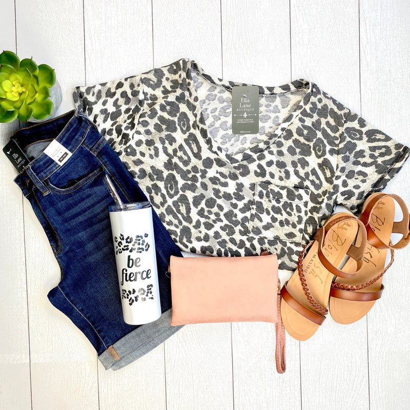Cheetah Short Sleeve Pocket Top