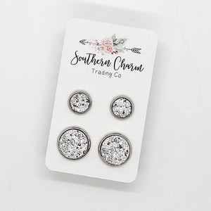 Mommy & Me Earring Studs - Silver