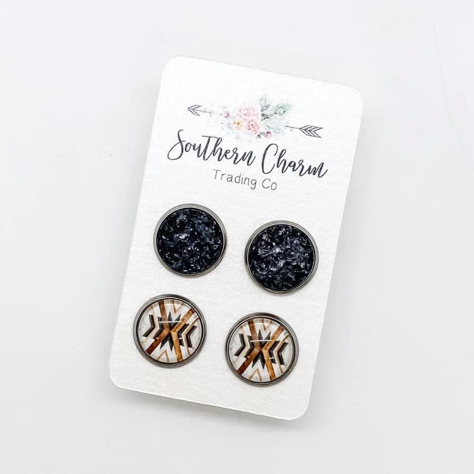 Grey Sparkles & Grey/Brown X Stud Earring Duo