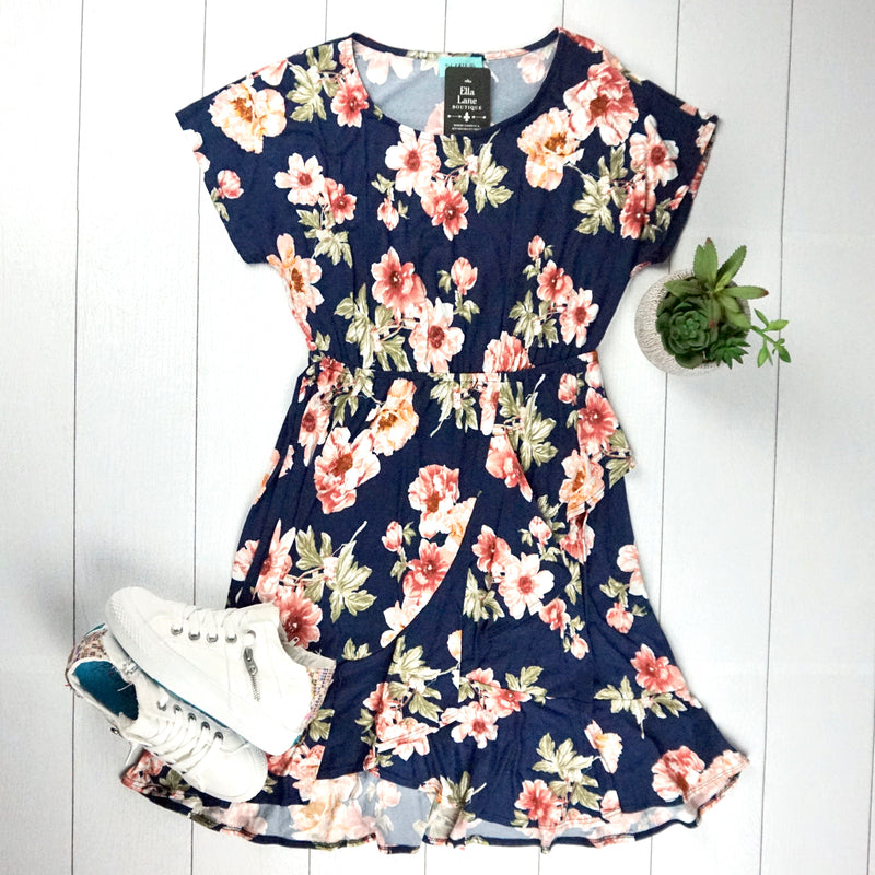 Navy Floral Ruffle Dress