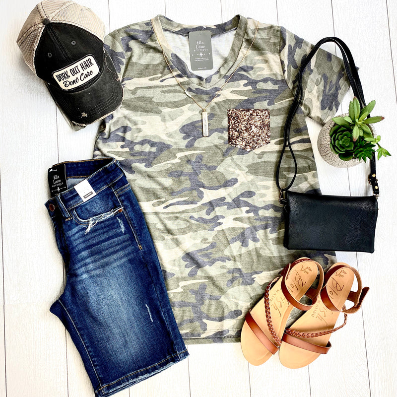 Sequin Pocket Camo Top