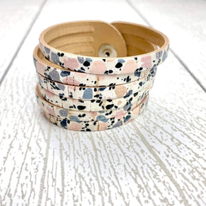 Sliced Leather Cuff - Sunset Pebbles Cork