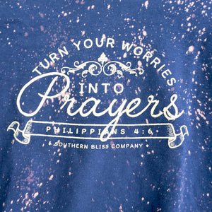 Turn Your Worries Into Prayers Bleached Sweatshirt - Navy