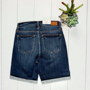 JB Cuffed Bermuda Shorts - Dark Wash