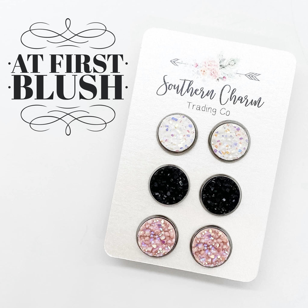 White, Black, & Blush Stud Earring Trio