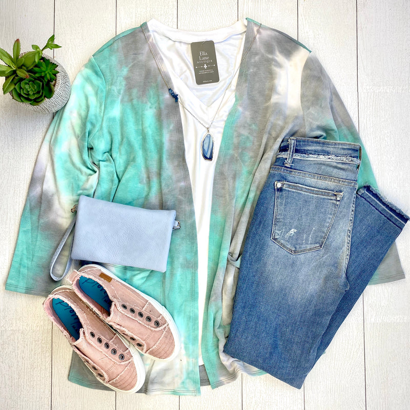 French Terry Mint Tie Dye Cardigan-FINAL SALE